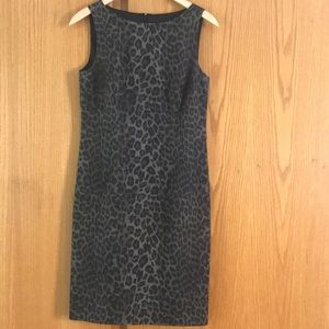 Ann Taylor olive/black leopard print pencil midi 4